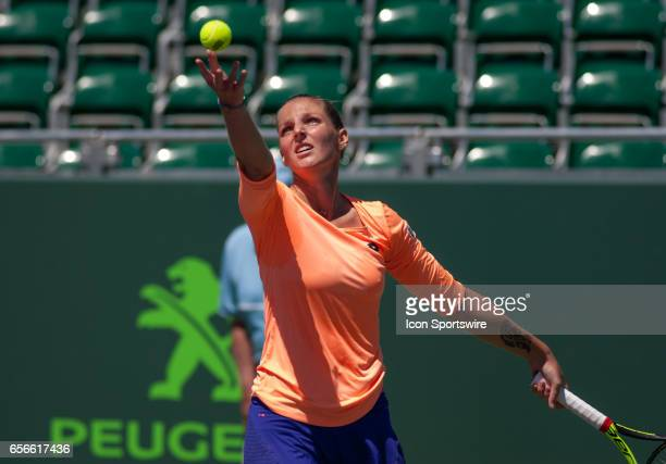 Kristyna Pliskova in action during the first round of the 2017 Miami Open on March 21 at Tennis Center at Crandon Park in Key Biscayne FL