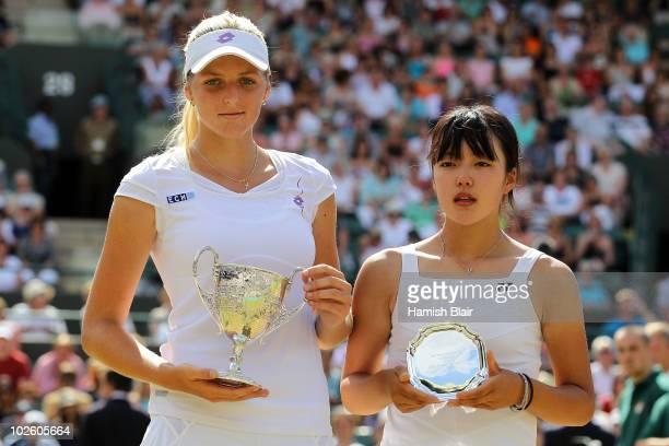 Kristyna Pliskova of Czech Republic celebrates winning the Girls Singles Final match against Sachie Ishizu of Japan on Day Twelve of the Wimbledon...