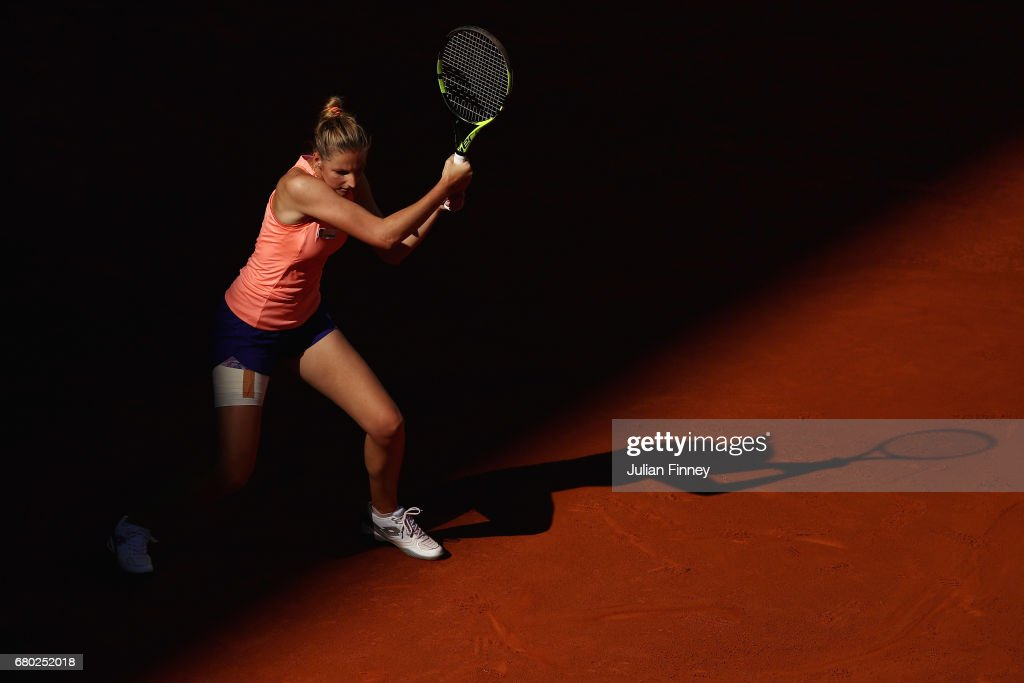 Kristyna Pliskova of Czech Republic in action against Simona Halep of Romania during day two of the Mutua Madrid Open tennis at La Caja Magica on May 7, 2017 in Madrid, Spain.