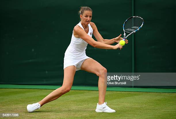 Kristyna Pliskova of Czech Republic plays a backhand following defeat during the Ladies Singles second round match against Misaki Doi of Japan on day...