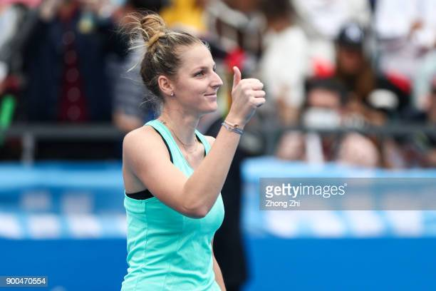 Kristyna Pliskova of Czech Republic reacts after winning the match against Jelena Ostapenko of Latvia during Day 3 of 2018 WTA Shenzhen Open at...