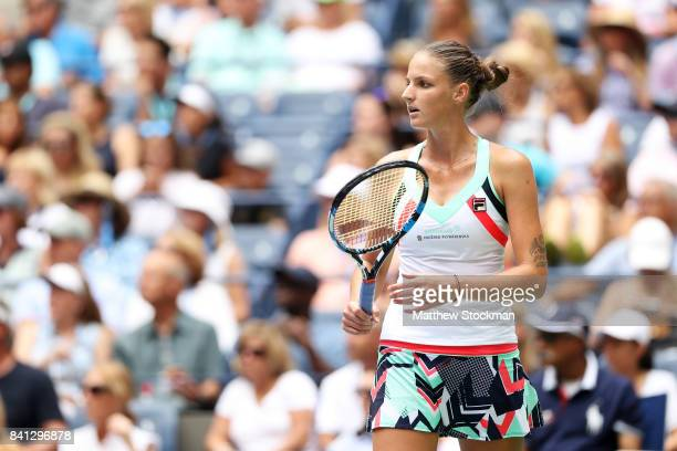 Kristyna Pliskova of Czech Republic reacts against Nicole Gibbs of the United States during their second round Women's Singles match on Day Four of...