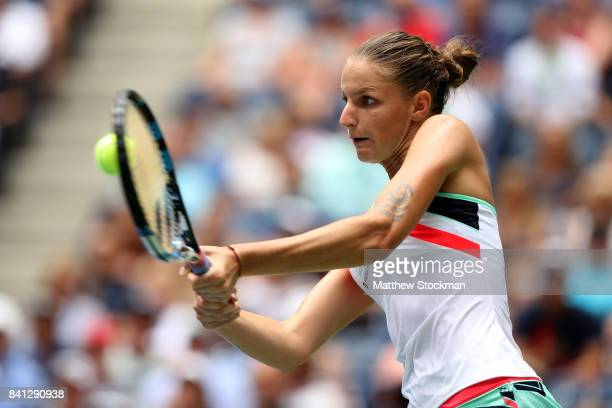 Kristyna Pliskova of Czech Republic returns a shot against Nicole Gibbs of the United States during their second round Women's Singles match on Day...