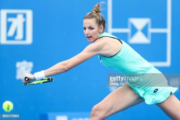 Kristyna Pliskova of Czech Republic returns a shot during the match against Jelena Ostapenko of Latvia during Day 3 of 2018 WTA Shenzhen Open at...