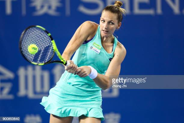 Kristyna Pliskova of Czech Republic returns a shot during the match against Ana Bogdan of Romania during Day 4 of 2018 WTA Shenzhen Open at Longgang...