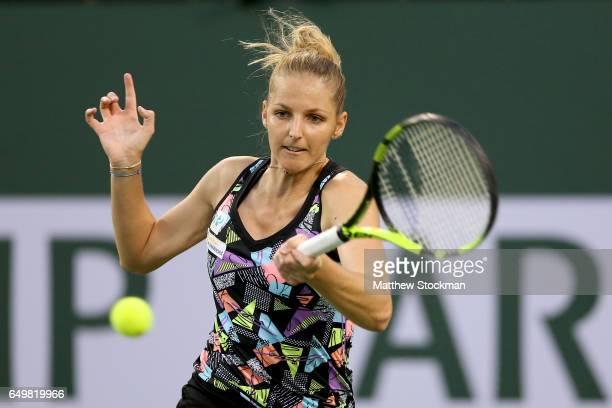 Kristyna Pliskova of Czech Republic returns a shot to Bethanie MattekSands during the BNP Paribas Open at the Indian Wells Tennis Garden on March 8...