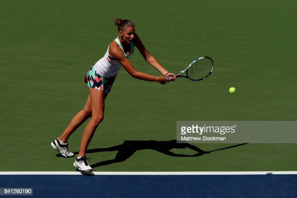 Kristyna Pliskova of Czech Republic serves against Nicole Gibbs of the United States during their second round Women's Singles match on Day Four of...