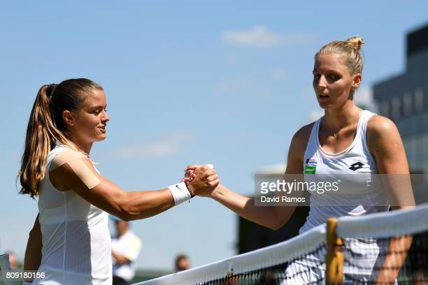 Kristyna Pliskova of the Czech Republic and Maria Sakkari of Greece shake hands after their Ladies Singles second round match on day three of the...