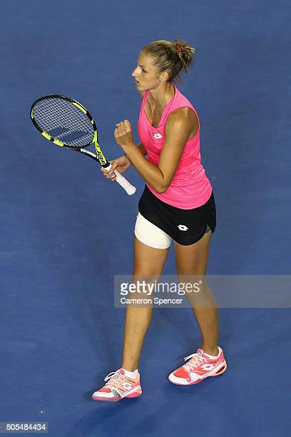 Kristyna Pliskova of the Czech Republic celebrates a point in her first round match against Samantha Stosur of Australia during day one of the 2016...