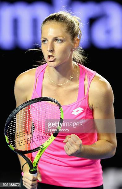 Kristyna Pliskova of the Czech Republic celebrates winning a point in her first round match against Sam Stosur of Australia during day one of the...