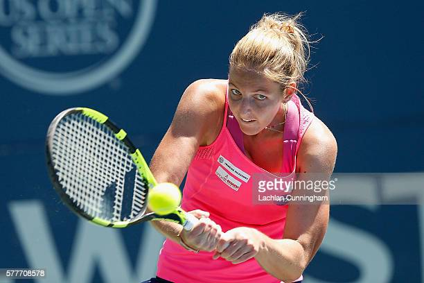 Kristyna Pliskova of the Czech Republic competes against Magda Linette of Poland during day two of the Bank of the West Classic at the Stanford...