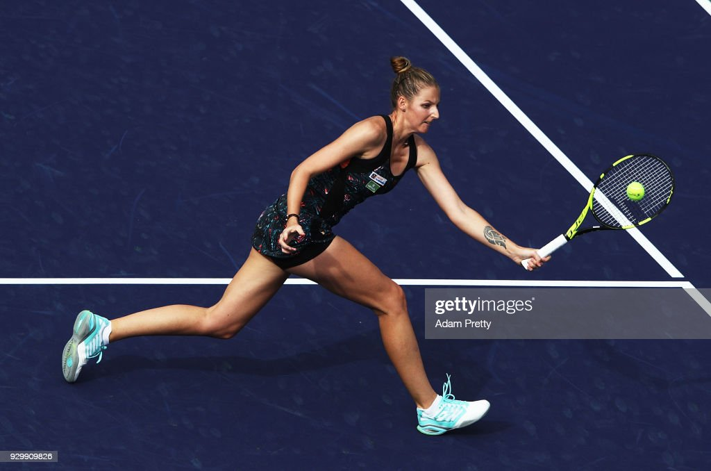 Kristyna Pliskova of the Czech Republic hits a forehand during her match against Simona Halep of Romania during the BNP Paribas Open at the Indian Wells Tennis Garden on March 9, 2018 in Indian Wells, California.