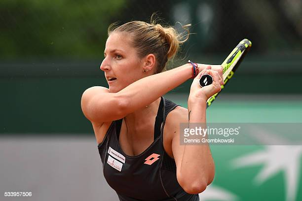 Kristyna Pliskova of the Czech Republic plays a backhand during the Women's Singles first round match against Teliana Pereira of Brazil on day three...