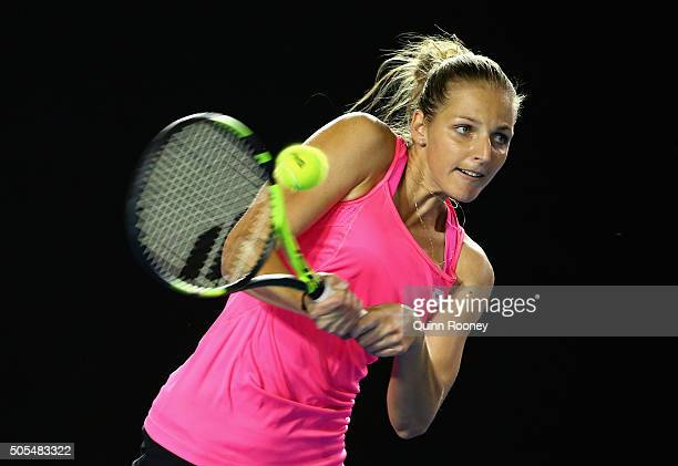 Kristyna Pliskova of the Czech Republic plays a backhand in her first round match against Sam Stosur of Australia during day one of the 2016...