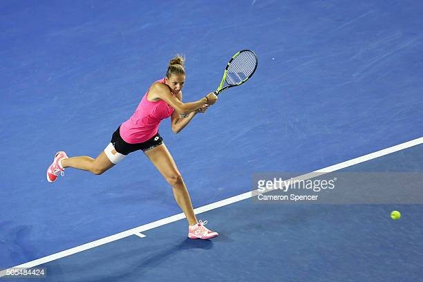 Kristyna Pliskova of the Czech Republic plays a backhand in her first round match against Samantha Stosur of Australia during day one of the 2016...