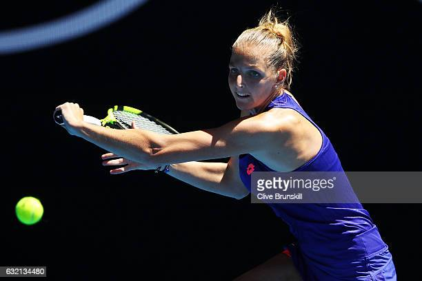 Kristyna Pliskova of the Czech Republic plays a backhand in her third round match against Angelique Kerber of Germany on day five of the 2017...