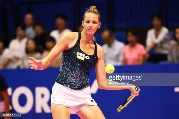 Kristyna Pliskova of the Czech Republic plays a forehand during her singles first round match against Daria Gavrilova of Australia on day one of the...
