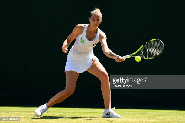 Kristyna Pliskova of the Czech Republic plays a forehand during the Ladies Singles second round match against Maria Sakkari of Greece on day three of...