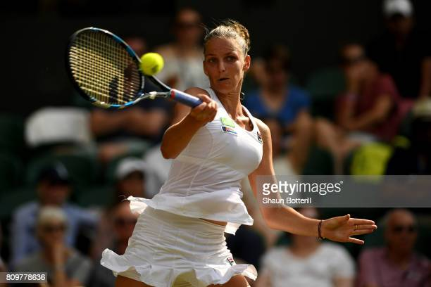Kristyna Pliskova of the Czech Republic plays a forehand during the Ladies Singles second round match against Magdalena Rybarikova of Slovakia on day...