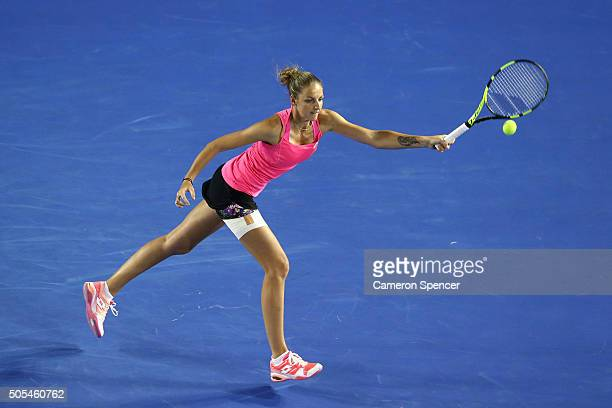 Kristyna Pliskova of the Czech Republic plays a forehand in her first round match against Samantha Stosur of Australia during day one of the 2016...