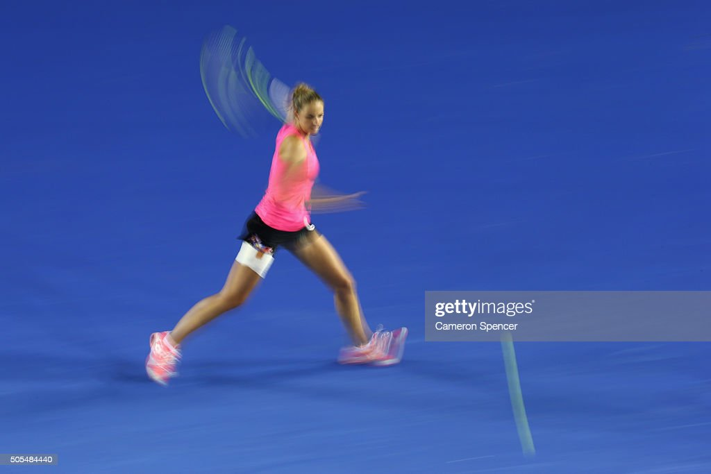 Kristyna Pliskova of the Czech Republic plays a forehand in her first round match against Samantha Stosur of Australia during day one of the 2016 Australian Open at Melbourne Park on January 18, 2016 in Melbourne, Australia.