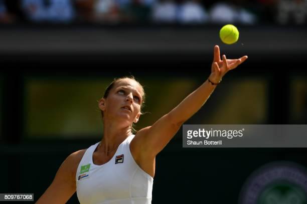 Kristyna Pliskova of the Czech Republic prepraes to serve during the Ladies Singles second round match against Magdalena Rybarikova of Slovakia on...