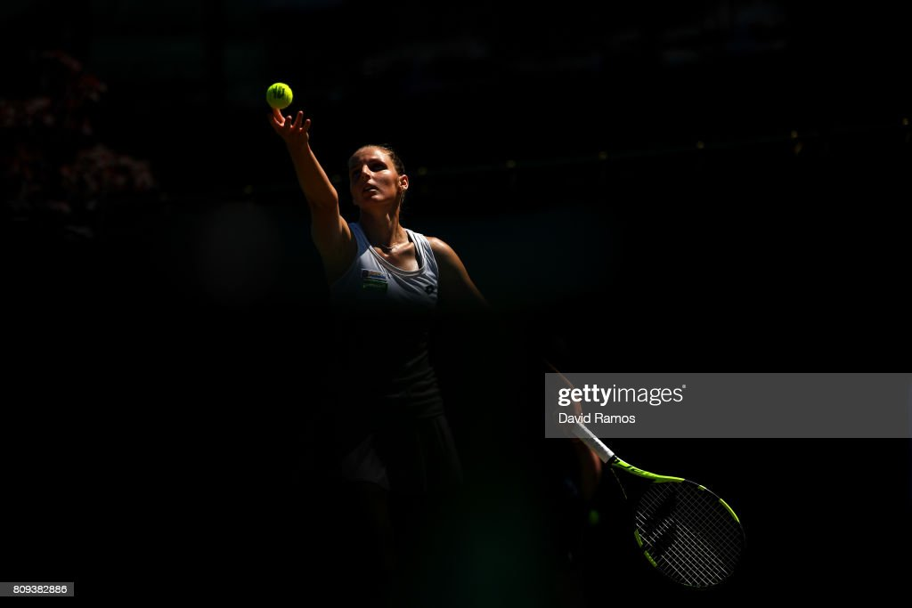 Kristyna Pliskova of the Czech Republic serves during the Ladies Singles second round match against Maria Sakkari of Greece on day three of the Wimbledon Lawn Tennis Championships at the All England Lawn Tennis and Croquet Club on July 5, 2017 in London, England.