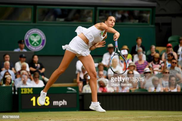 Kristyna Pliskova of the Czech Republic serves during the Ladies Singles second round match against Magdalena Rybarikova of Slovakia on day four of...