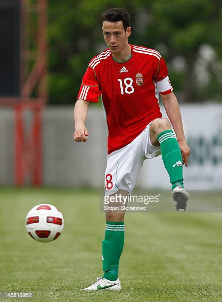 Krisztian Adorjan of Hungary in action during the U19 Hungary v U19 Germany Elite Round match at Slana Bara stadium on May 30 2012 in Novi Sad Serbia
