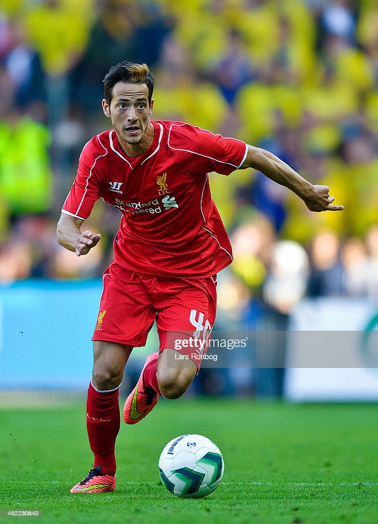 Krisztian Adorjan of Liverpool FC controls the ball during the Pre-Season Friendly match between Brondby IF and Liverpool FC at Brondby Stadion on July 16, 2014 in Brondby, Denmark.