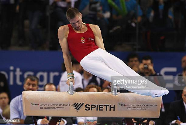 Krisztian Berki of Hungary performs at the pommel horse during the EnBW Gymnastics Worldcup 2010 at the Porsche Arena on November 13 2010 in...