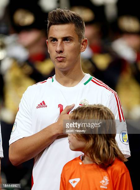 Krisztian Nemeth of Hungary during the FIFA 2014 World Cup Qualifing match between Holland and Hungary at Amsterdam Arena on October 11 2013 in...