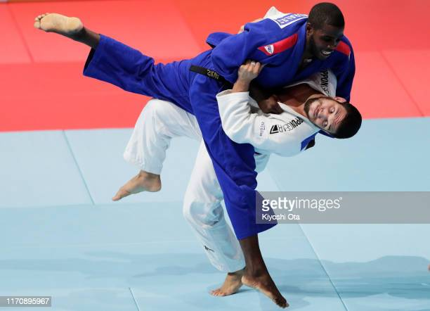 Krisztian Toth of Hungary and Ivan Felipe Silva Morales of Cuba compete in the Men's -90kg repechage on day five of the World Judo Championships at...