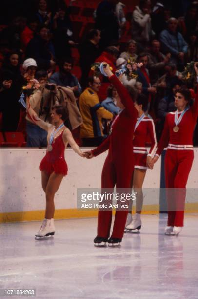 Krisztina Regoczy András Sallay Irina Moiseeva Andrei Minenkov in medal ceremony for the Ice Dancing figure skating event at the 1980 Winter Olympics...