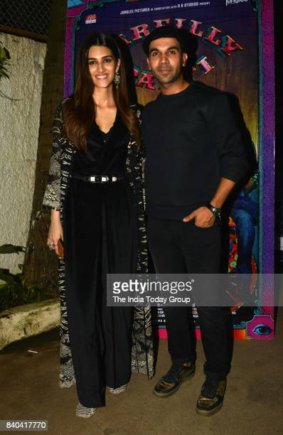 Kriti Sanon and Rajkummar Rao during the special screening of Bareilly Ki Barfi in Mumbai