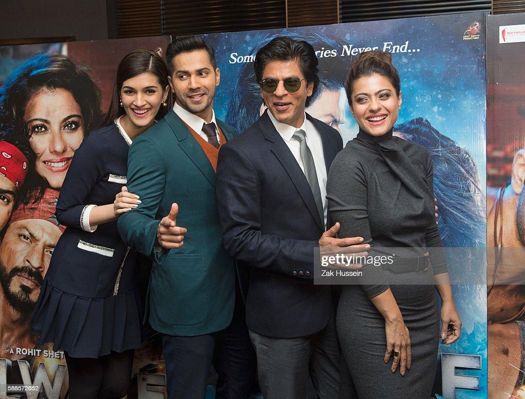 Kriti Sanon Varun Dhawan Shah Rukh Khan and Kajol Devgan attending the photocall for `Dilwale` in London
