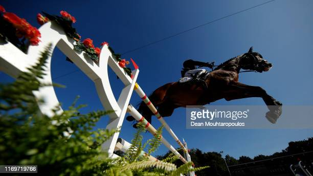 Kriton Zafiropoulos of Greece riding Dicaprio competes during Day 4 of the Longines FEI Jumping European Championship 2nd part, team Jumping 1st...