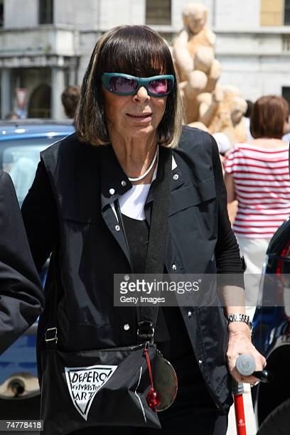Krizia's designer, Mariuccia Mandelli arrives at the funeral of Italian designer Gianfranco Ferre at St. Magno Church on June 19, 2007 in Legnano,...