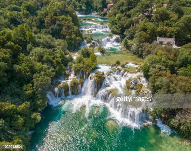 krka national park waterfalls, croatia - national landmark stock pictures, royalty-free photos & images
