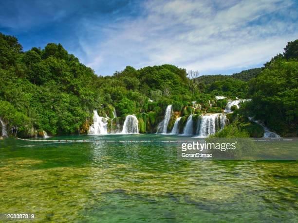 krka waterfalls - national landmark stock pictures, royalty-free photos & images