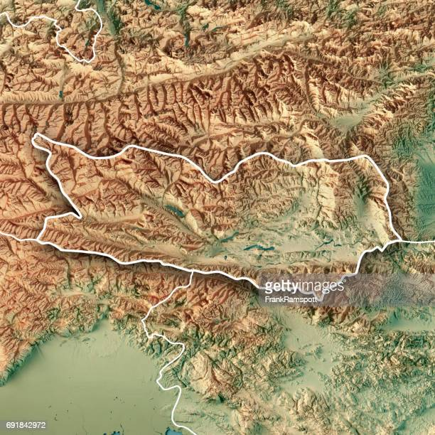 Kärnten Bundesland Austria 3D Render Topographic Map Border