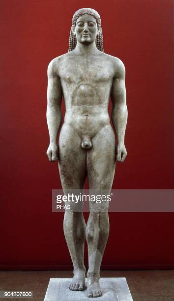 Kroisos Kouros Statue of an Athenian soldier called Cresos that functioned as a grave marker Located in Anavyssos Attica Dated 540515 BC Marble of...