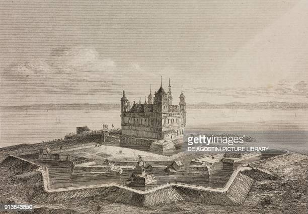 Kronborg Castle Helsingor Denmark engraving by Lemaitre from Danemark by Eyres and Chopin L'Univers pittoresque published by Firmin Didot Freres...