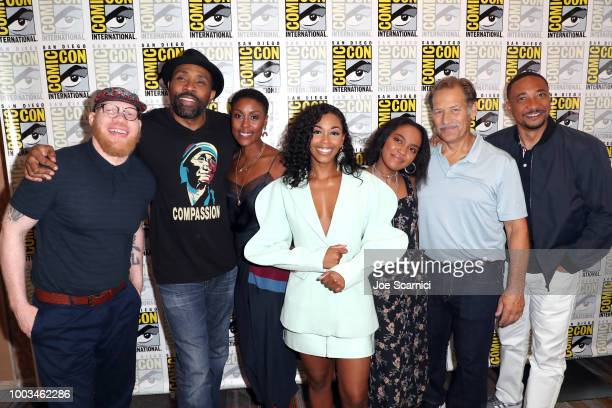 Krondon Cress Williams Christine Adams Nafessa Williams China Anne McClain James Remar and Damon Gupton attend the 'Black Lightning' Press Line...