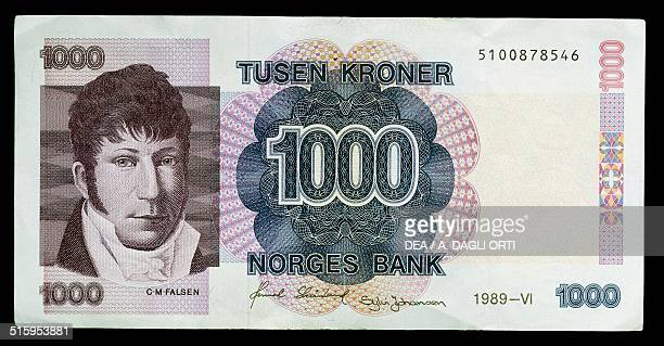 1000 kroner banknote obverse Christian Magnus Falsen Norway 20th century