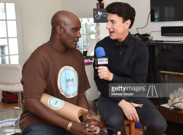Kronez founder John Glanton is interviewed by BJ Korros of Shout Out For A Cause at Mr Jack Visits TAP The Artists Project on October 4 2018 in Los...