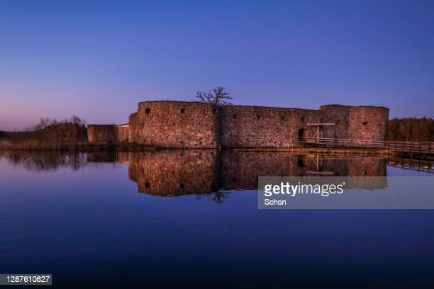 kronoberg's castle ruin in the evening light in winter - vaxjo stock pictures, royalty-free photos & images