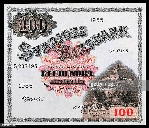 Kronor banknote obverse. Sweden, 20th century.
