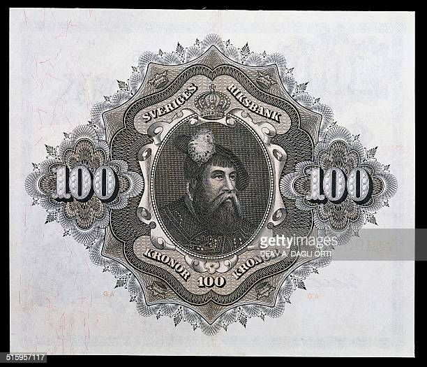 Kronor banknote reverse, Gustaf I Vasa . Sweden, 20th century.