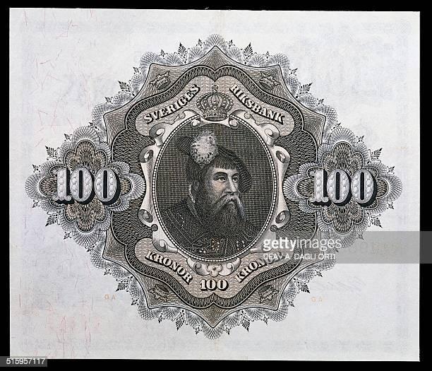Kronor banknote reverse, Gustaf I Vasa . Sweden, 20th century.